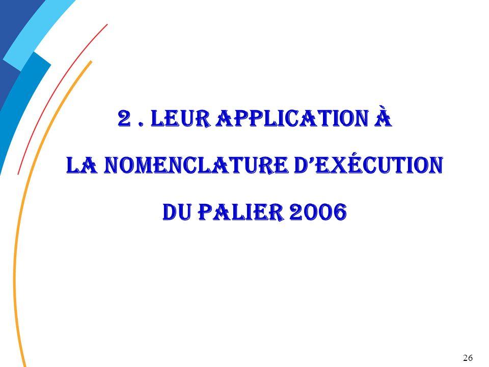 2 . Leur application à la nomenclature d'exécution du palier 2006