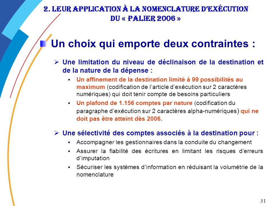 2. leur application à la nomenclature d'exécution du « Palier 2006 »