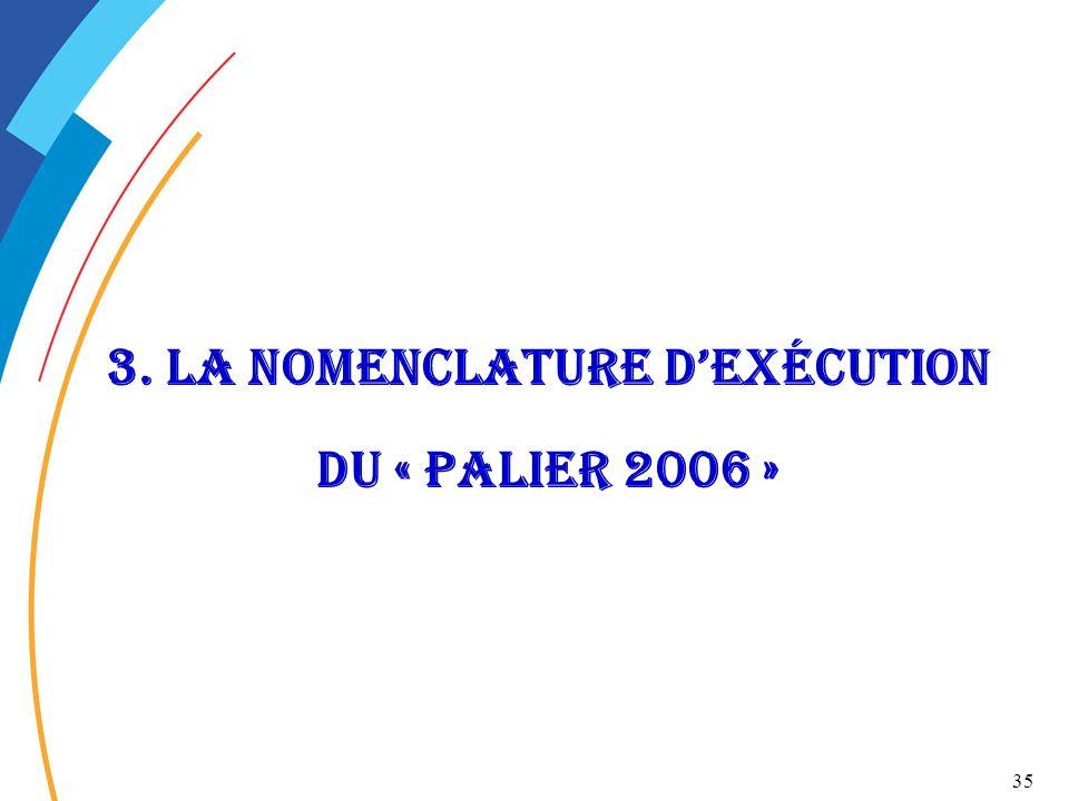3. La nomenclature d'exécution du « palier 2006 »