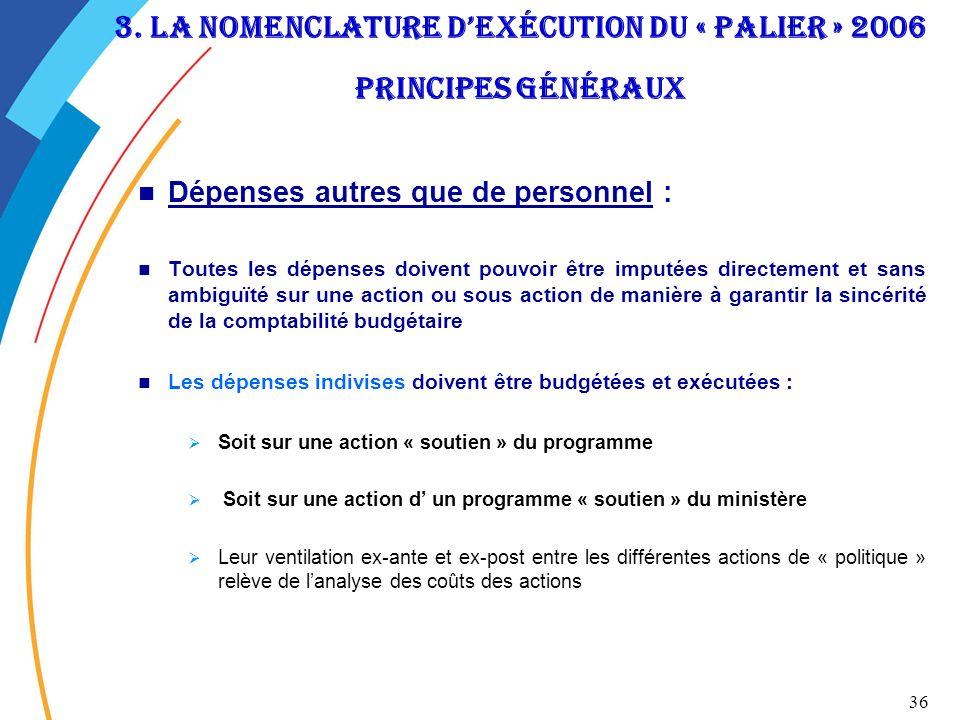 3. La nomenclature d'exécution du « palier » 2006 Principes généraux