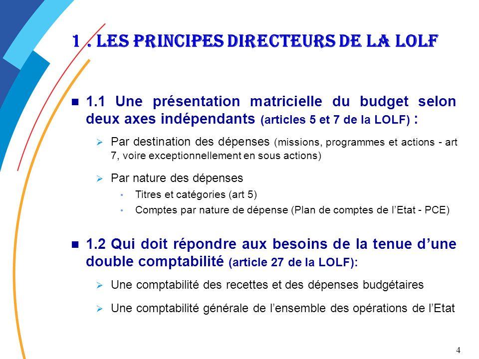 1 . Les principes directeurs de la lolf