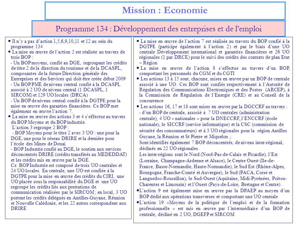 Programme 134 : Développement des entreprises et de l'emploi