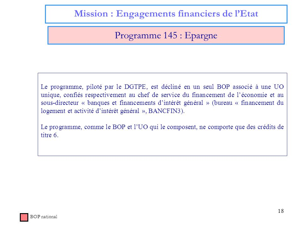 Mission : Engagements financiers de l'Etat
