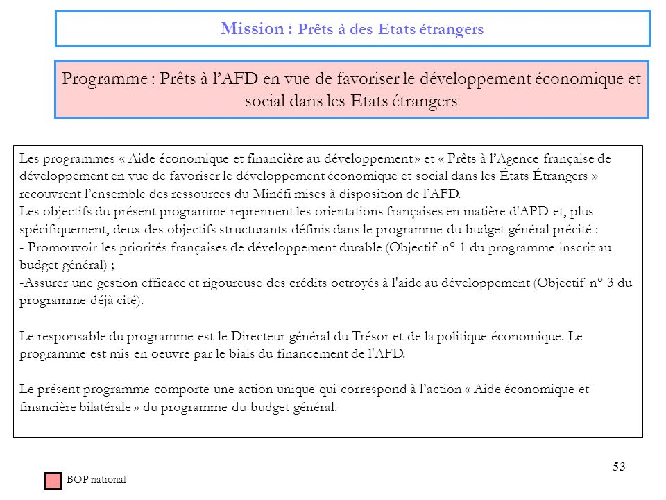 Mission : Prêts à des Etats étrangers