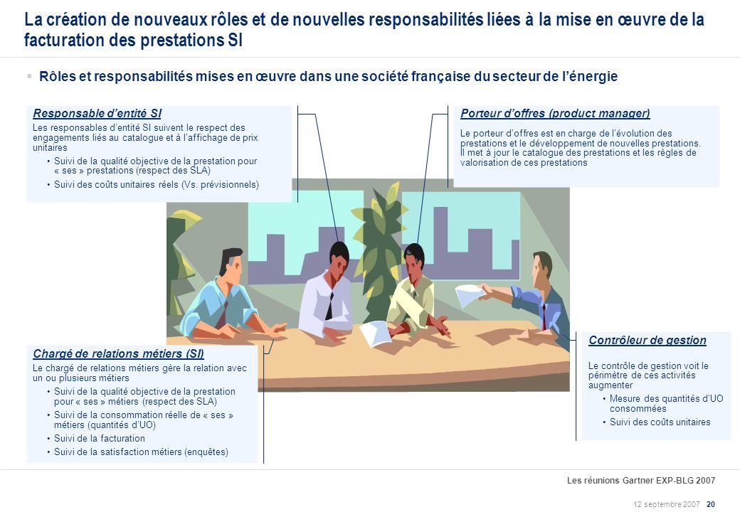 La création de nouveaux rôles et de nouvelles responsabilités liées à la mise en œuvre de la facturation des prestations SI