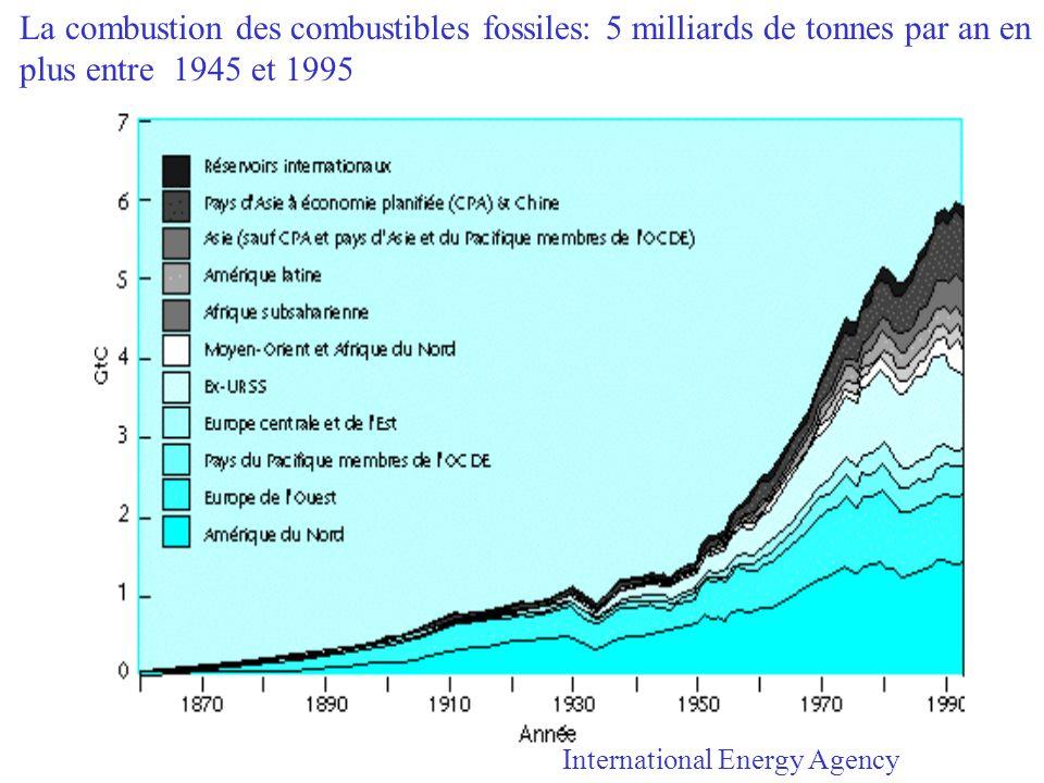 La combustion des combustibles fossiles: 5 milliards de tonnes par an en