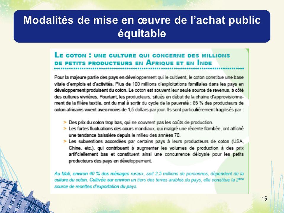 Modalités de mise en œuvre de l'achat public équitable