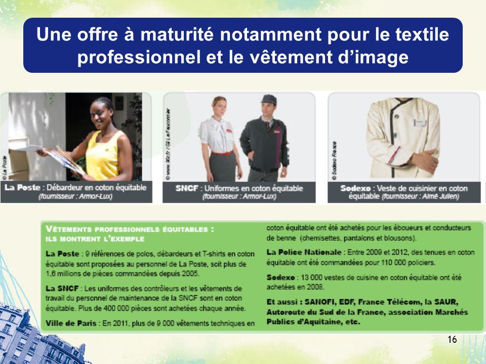 Une offre à maturité notamment pour le textile professionnel et le vêtement d'image