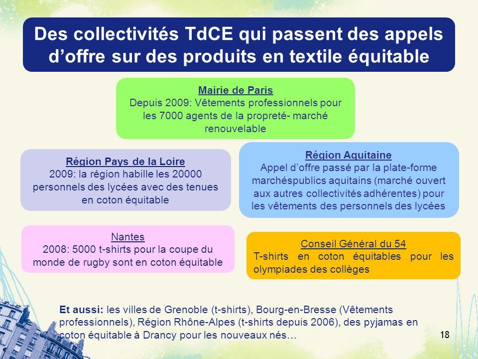 Des collectivités TdCE qui passent des appels d'offre sur des produits en textile équitable