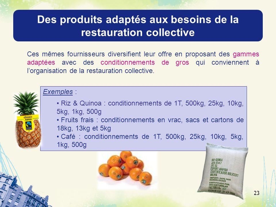 Des produits adaptés aux besoins de la restauration collective