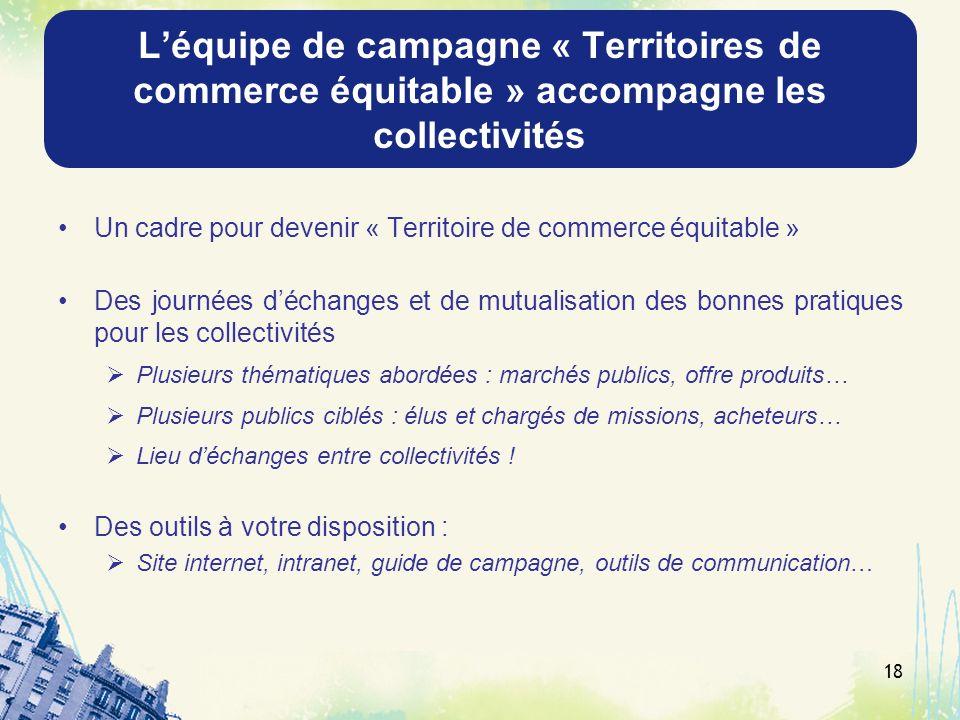 L'équipe de campagne « Territoires de commerce équitable » accompagne les collectivités