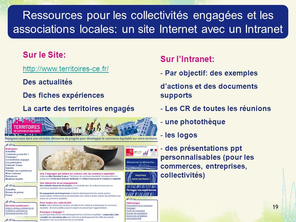 Ressources pour les collectivités engagées et les associations locales: un site Internet avec un Intranet