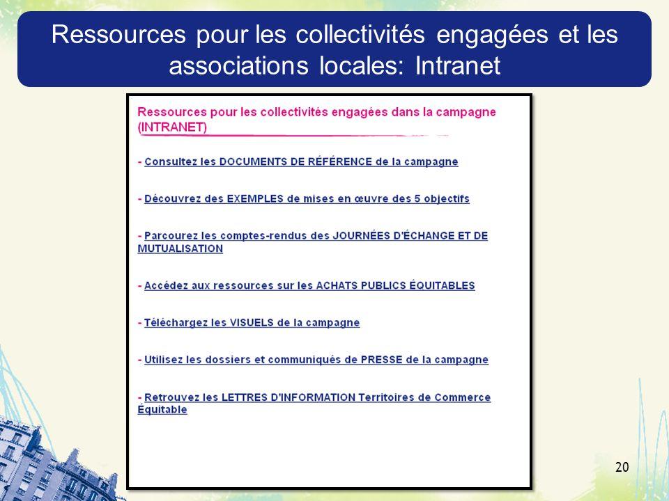 Ressources pour les collectivités engagées et les associations locales: Intranet