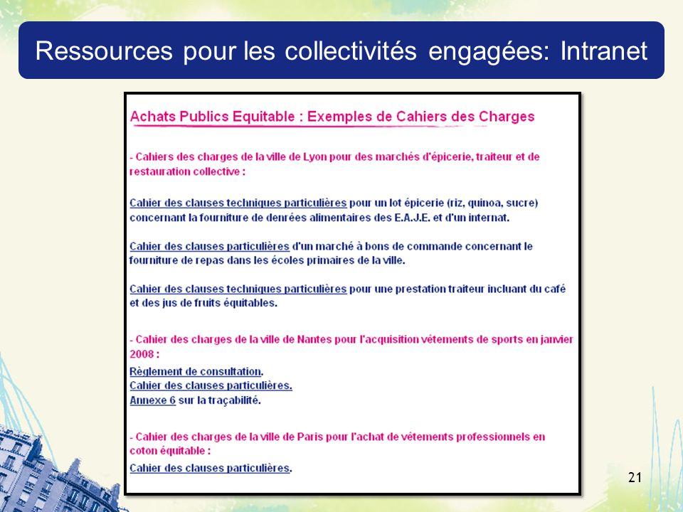 Ressources pour les collectivités engagées: Intranet