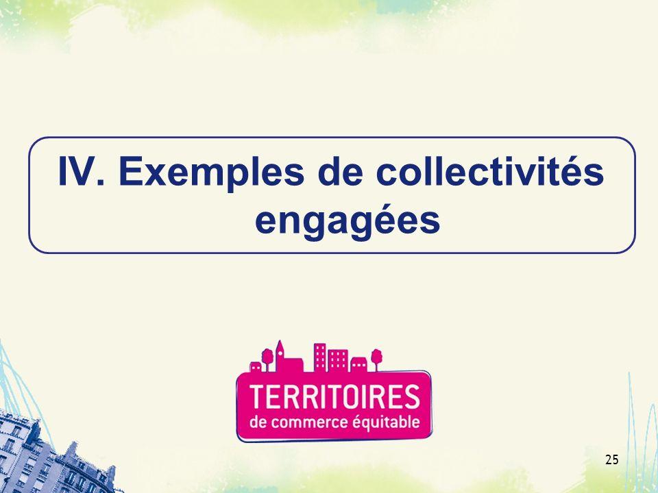 Exemples de collectivités engagées