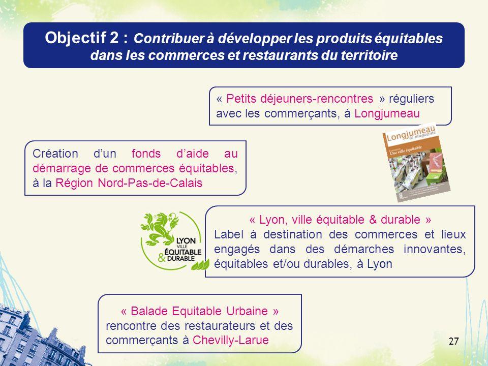 Objectif 2 : Contribuer à développer les produits équitables dans les commerces et restaurants du territoire