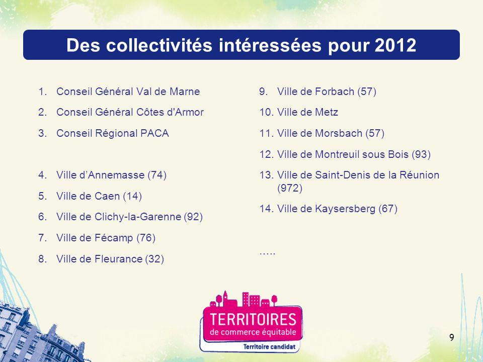 Des collectivités intéressées pour 2012