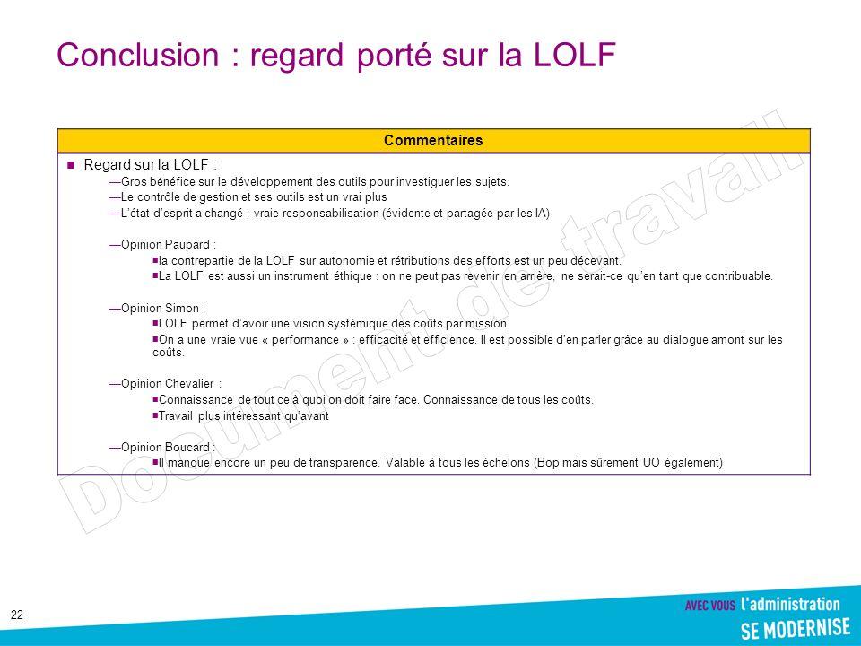Conclusion : regard porté sur la LOLF