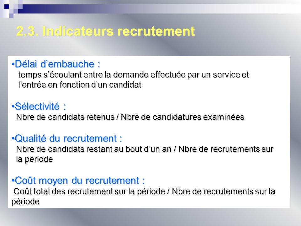2.3. Indicateurs recrutement