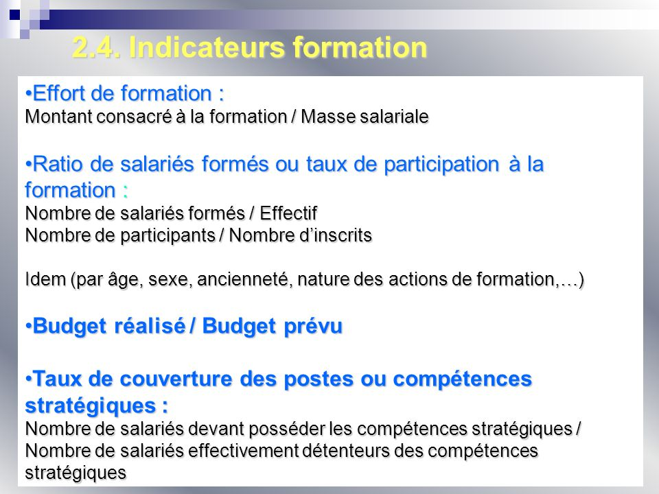 2.4. Indicateurs formation