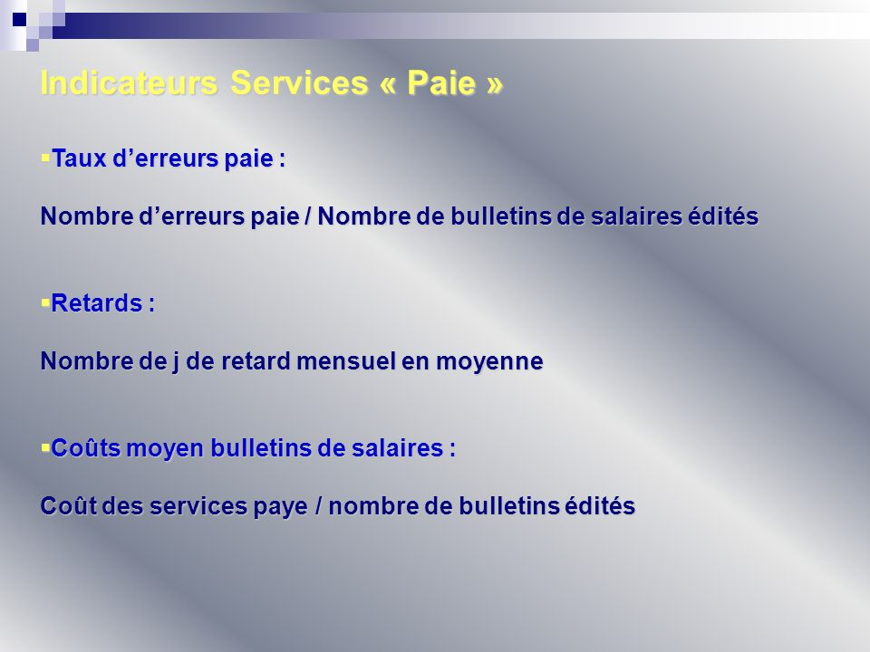 Indicateurs Services « Paie »