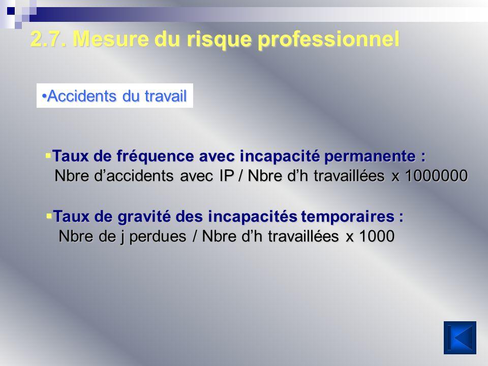 2.7. Mesure du risque professionnel