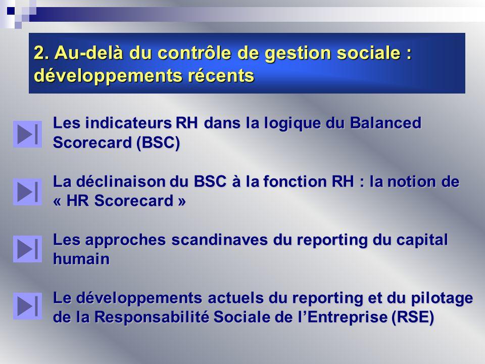 2. Au-delà du contrôle de gestion sociale : développements récents