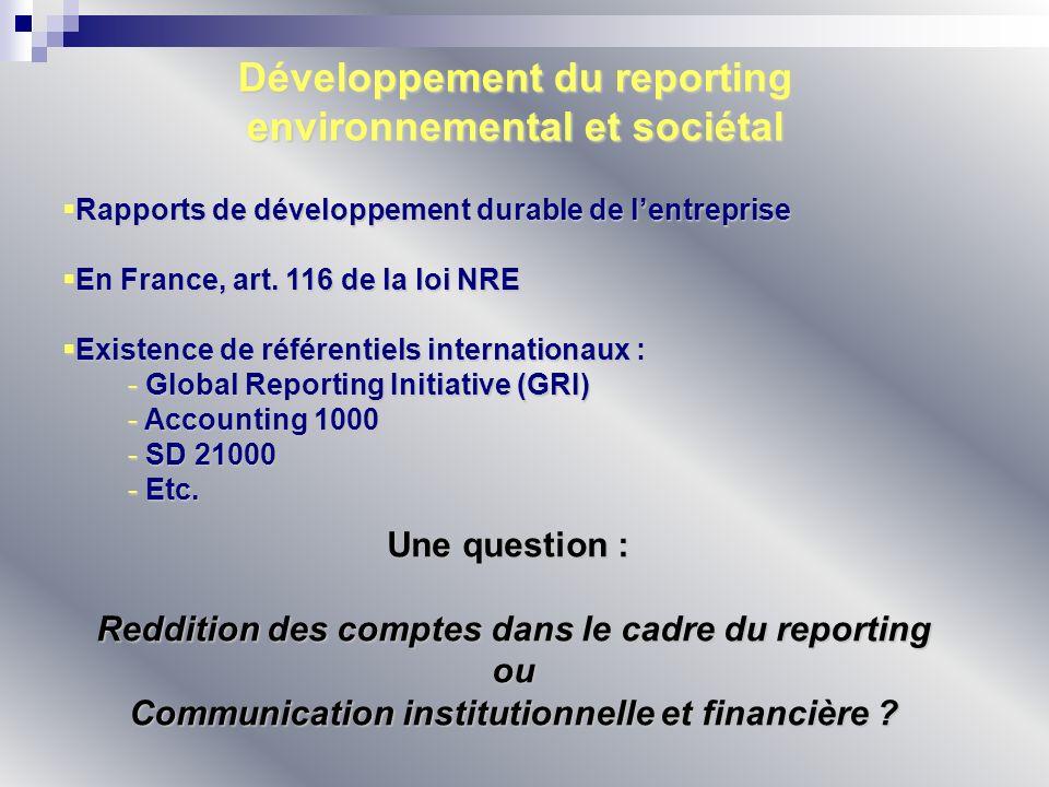 Développement du reporting environnemental et sociétal