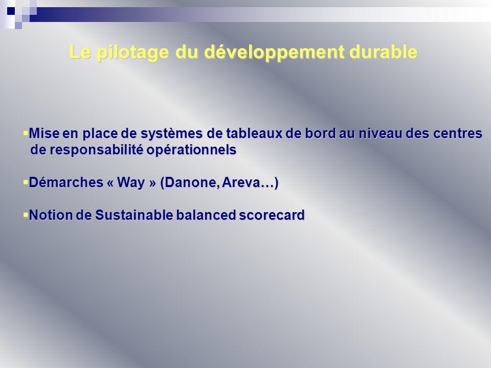 Le pilotage du développement durable