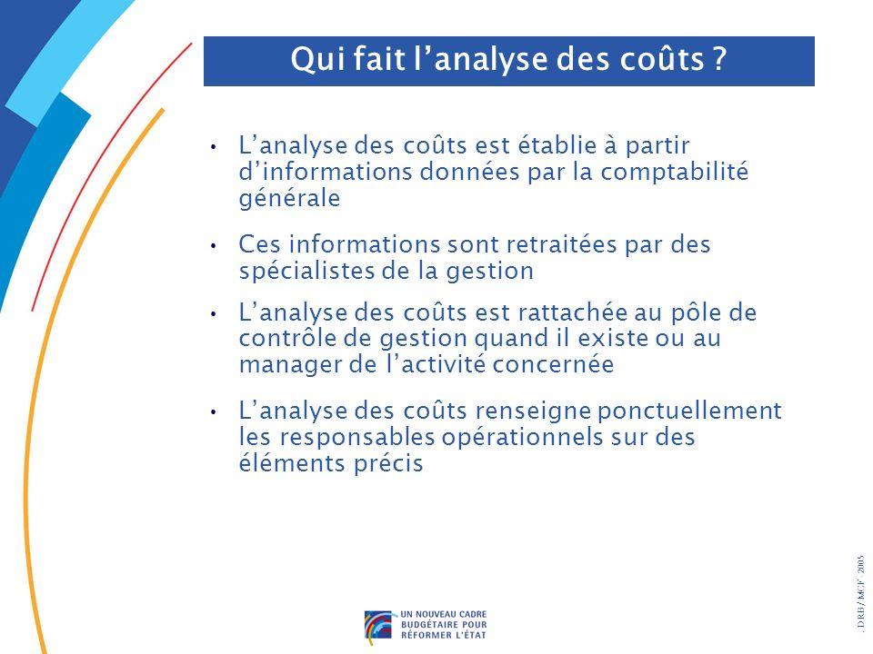 Qui fait l'analyse des coûts