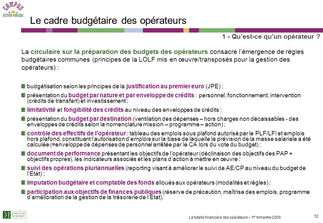 Le cadre budgétaire des opérateurs