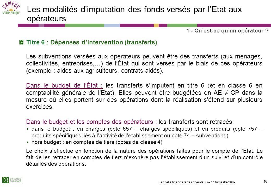Les modalités d'imputation des fonds versés par l'Etat aux opérateurs