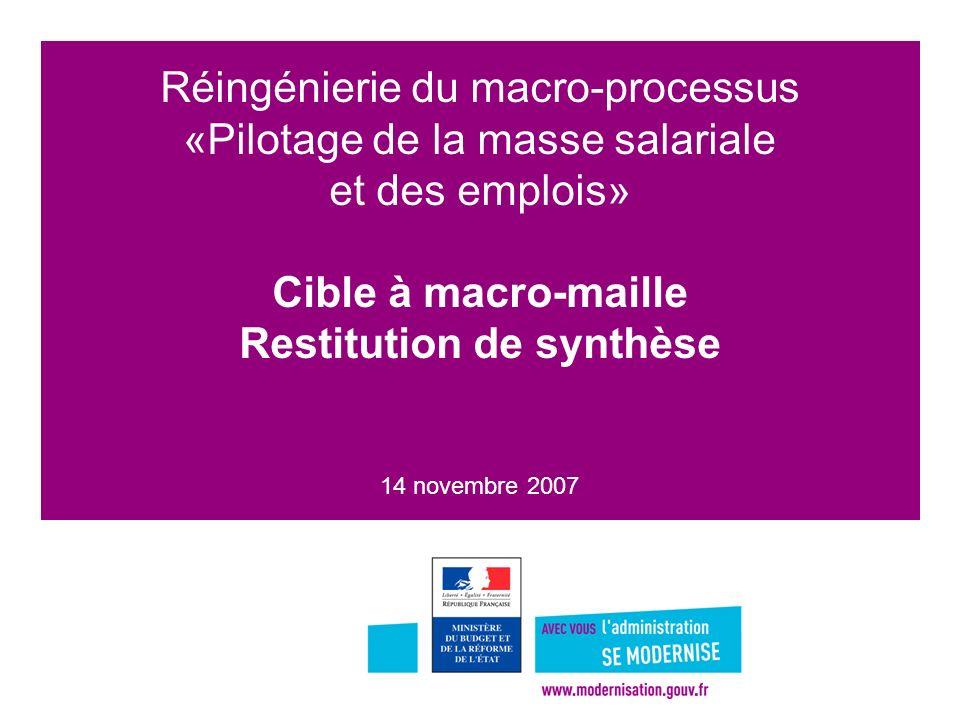 Réingénierie du macro-processus «Pilotage de la masse salariale et des emplois» Cible à macro-maille Restitution de synthèse 14 novembre 2007