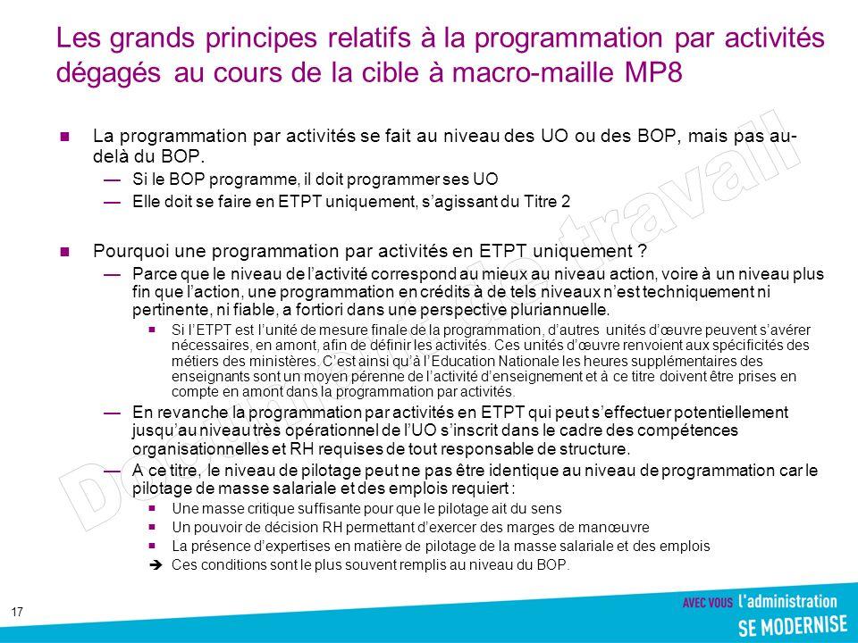 Les grands principes relatifs à la programmation par activités dégagés au cours de la cible à macro-maille MP8