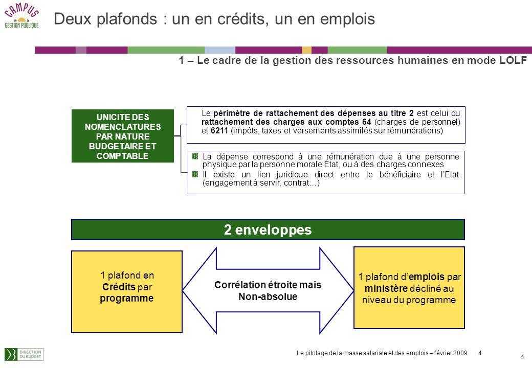 Deux plafonds : un en crédits, un en emplois
