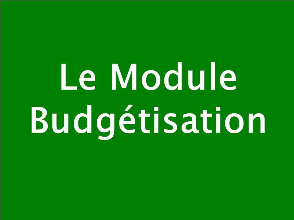 Le Module Budgétisation
