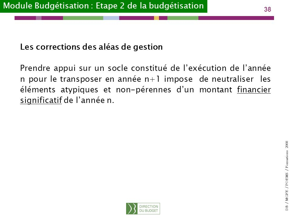 Module Budgétisation : Etape 2 de la budgétisation