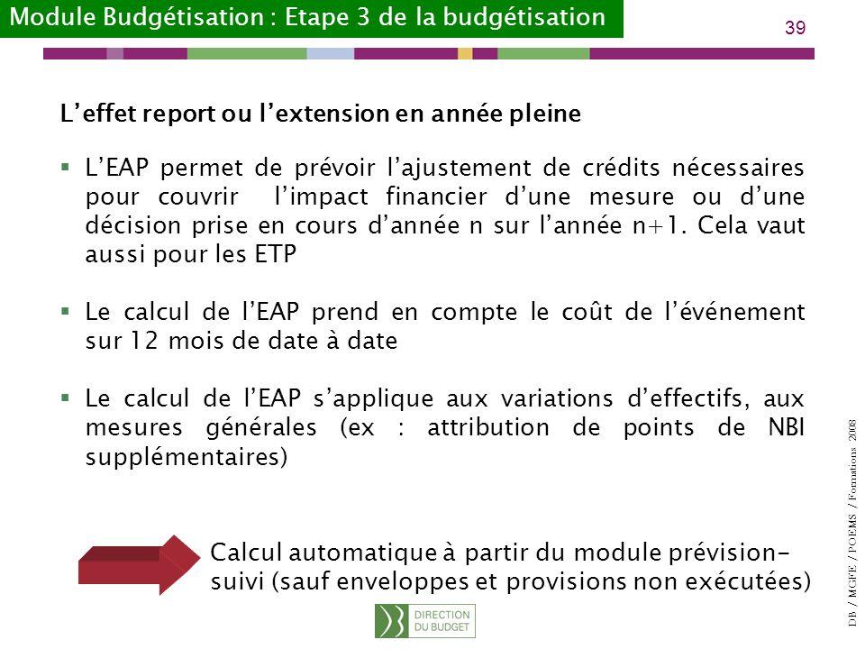 Module Budgétisation : Etape 3 de la budgétisation