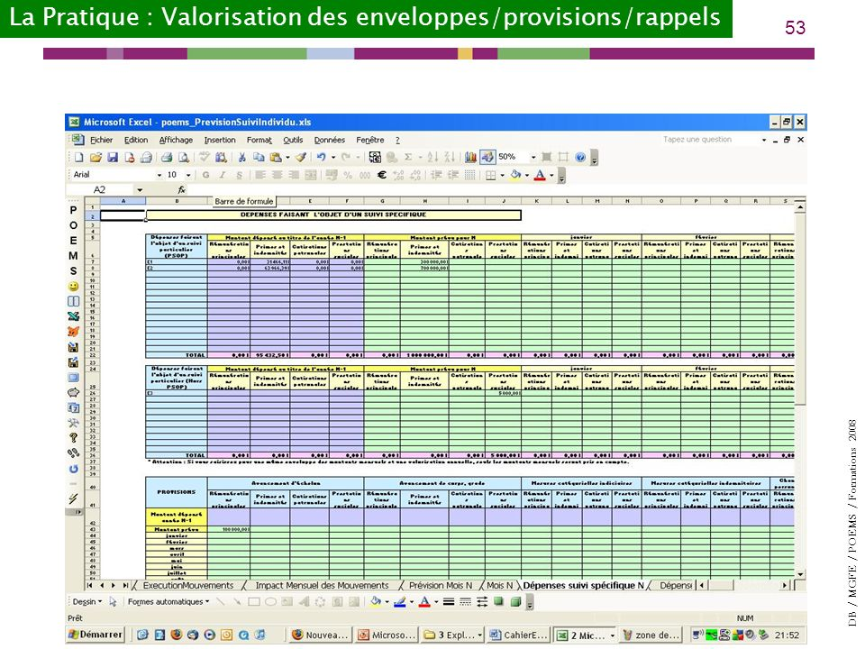La Pratique : Valorisation des enveloppes/provisions/rappels