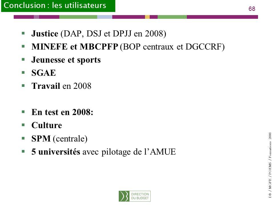 Justice (DAP, DSJ et DPJJ en 2008)