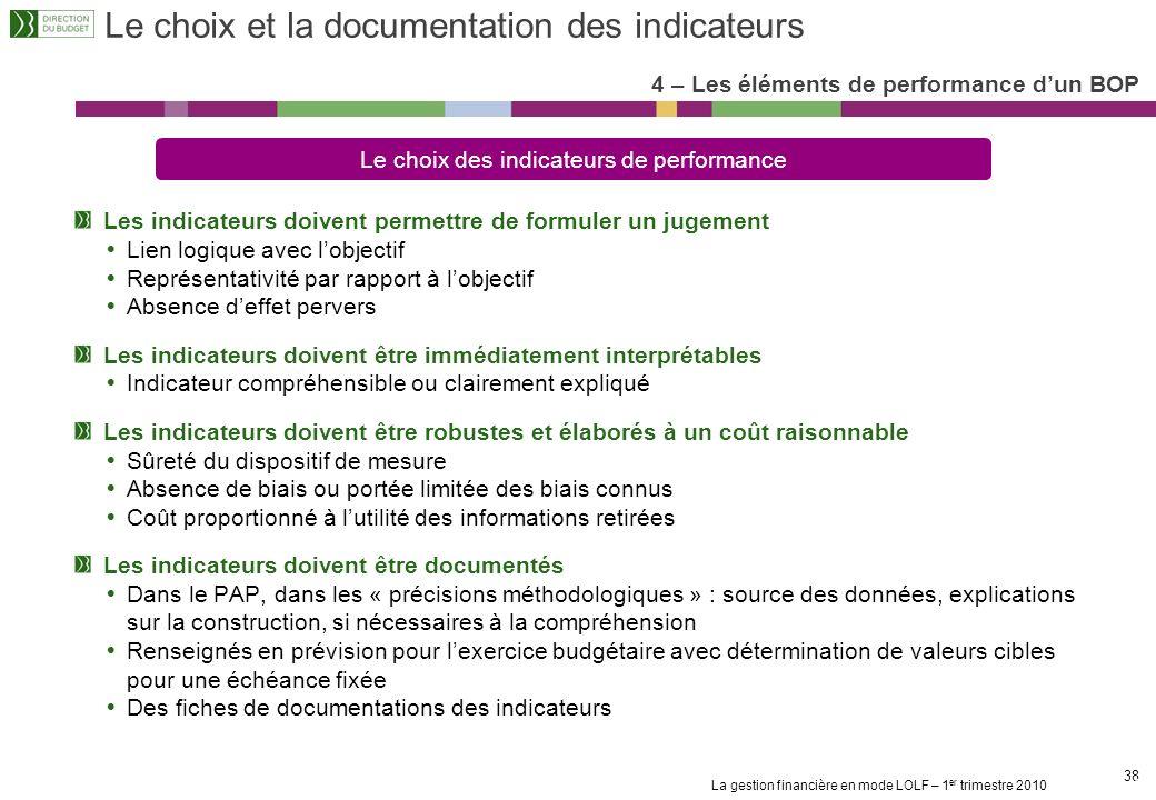 Le choix et la documentation des indicateurs