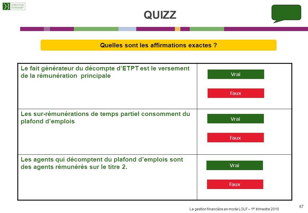 QUIZZ Quelles sont les affirmations exactes Le fait générateur du décompte d'ETPT est le versement de la rémunération principale.