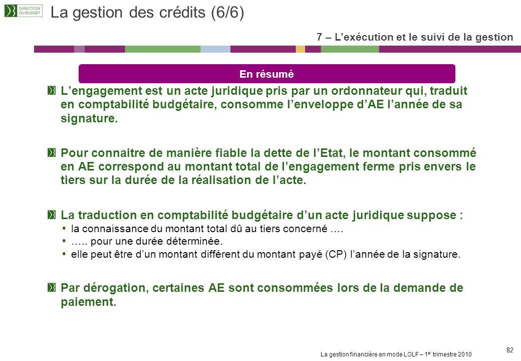 La gestion des crédits (6/6)