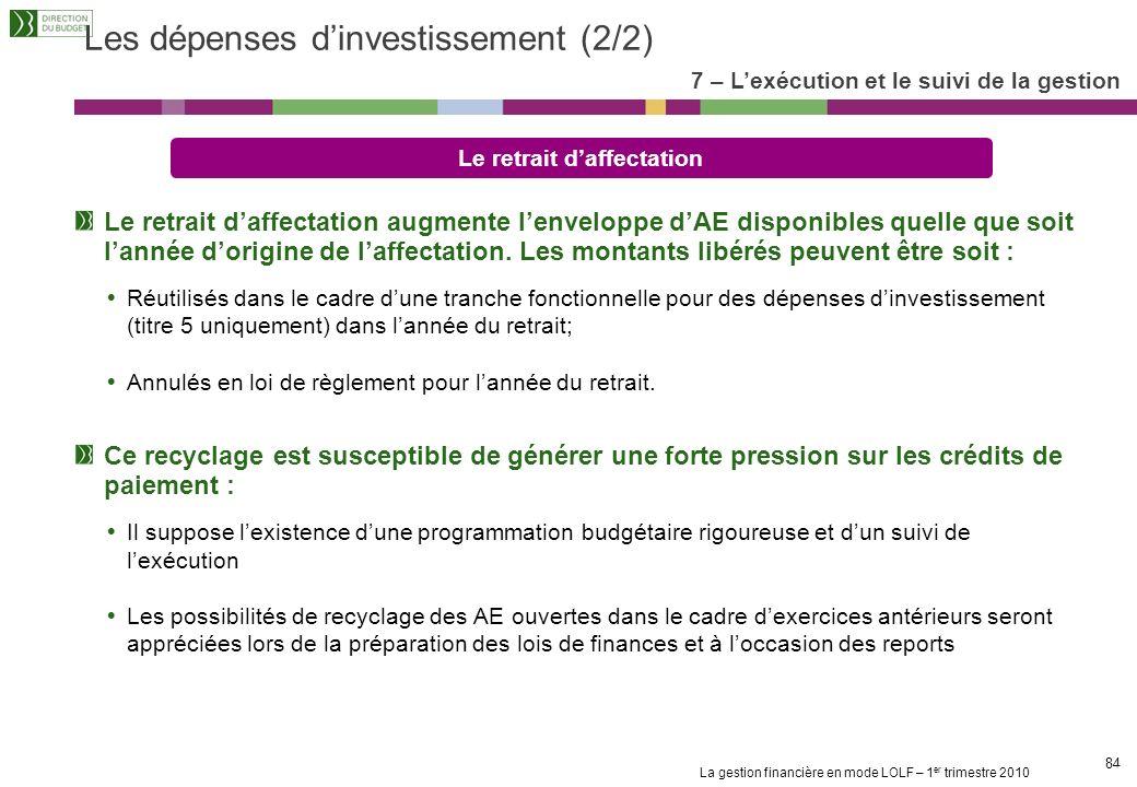 Les dépenses d'investissement (2/2)