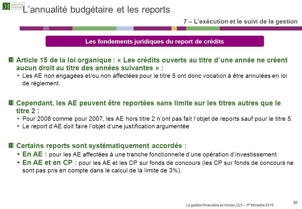 L'annualité budgétaire et les reports