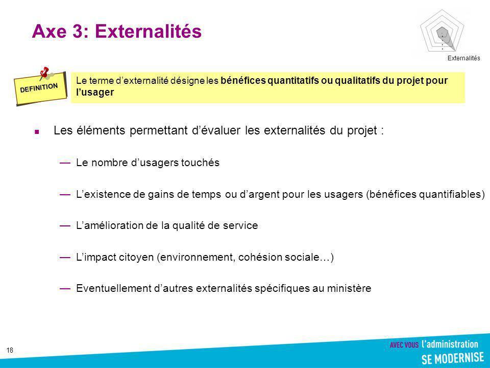 Axe 3: Externalités Externalités. DEFINITION. Le terme d'externalité désigne les bénéfices quantitatifs ou qualitatifs du projet pour l'usager.