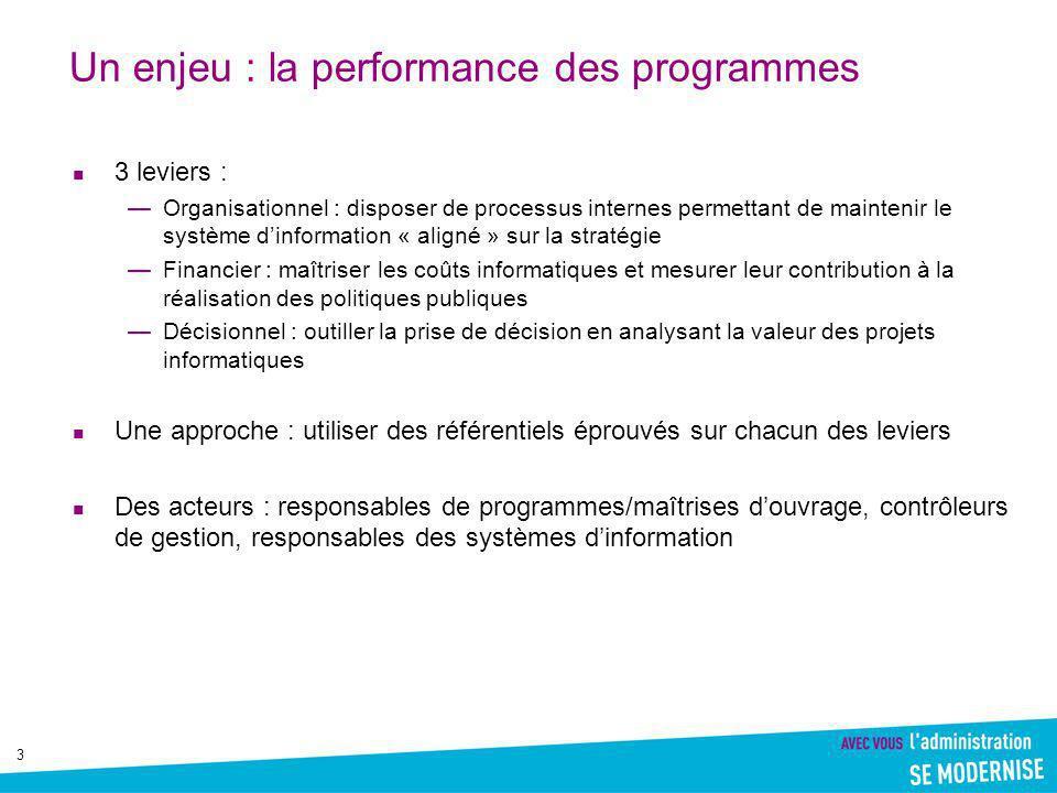 Un enjeu : la performance des programmes