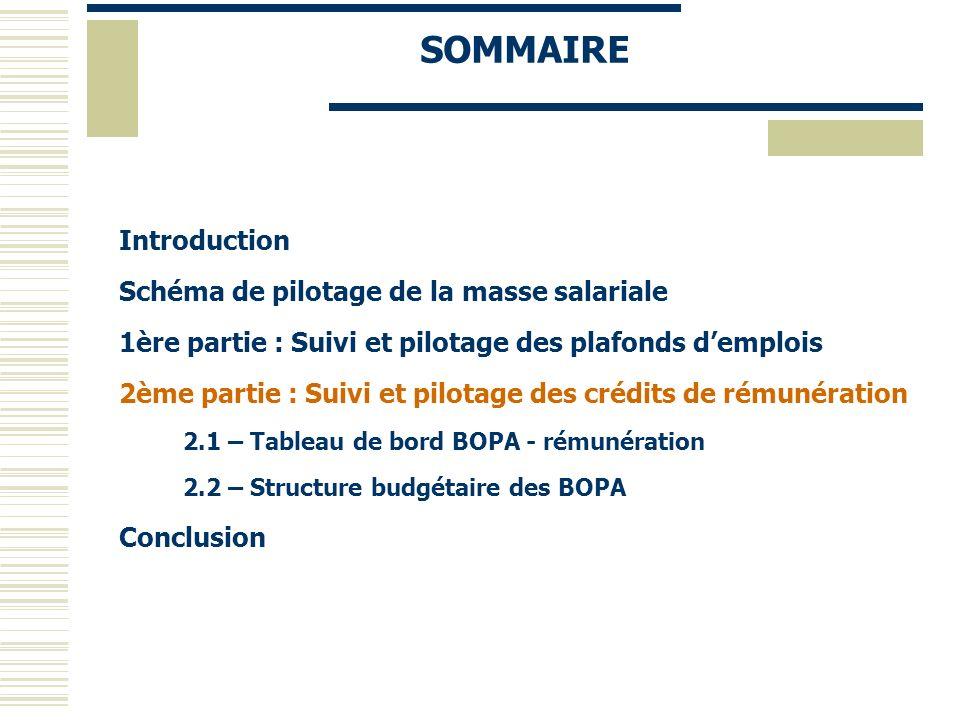 SOMMAIRE Introduction Schéma de pilotage de la masse salariale