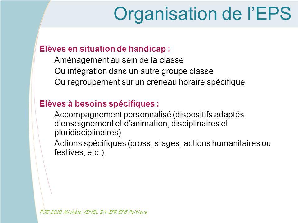 Organisation de l'EPS Elèves en situation de handicap :