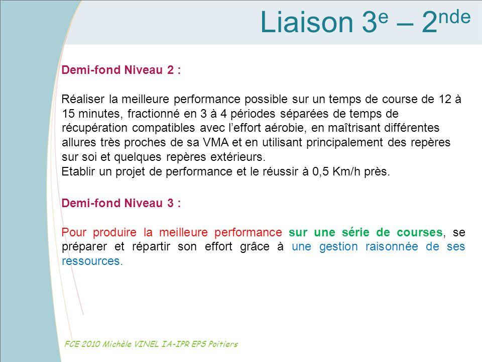 Liaison 3e – 2nde Demi-fond Niveau 2 :